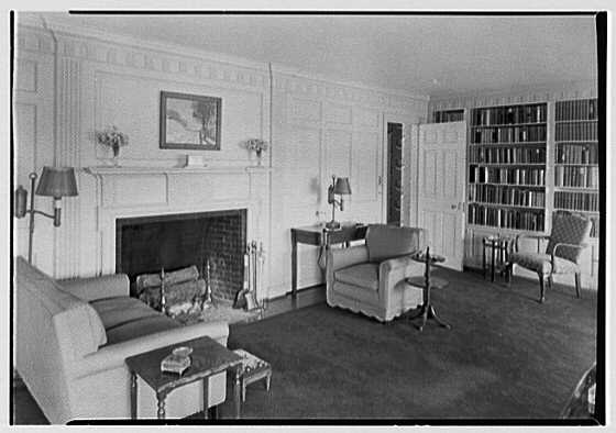 Charles L. Stillman, residence in Fairfield, Connecticut. Living room, to fireplace