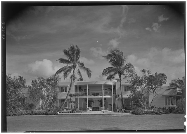 Charles S. Payson, residence in Hobe Sound, Florida. West facade, noon