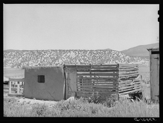 Chicken coop on Spanish-American farm. Chamisal, New Mexico