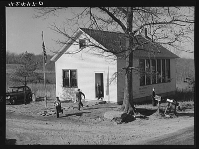 Children at a county school house in Ledyard, Connecticut getting out at lunch hour