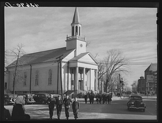 Children getting out of school at three-thirty in Woonsocket, Rhode Island