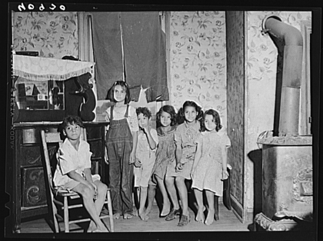 Children of Italian migratory workers who have come from Delaware to work in the onion fields near Cedarville, New Jersey
