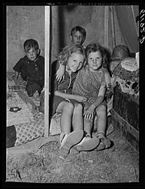 Children of migratory fruit worker in tent home. Berrien County, Michigan