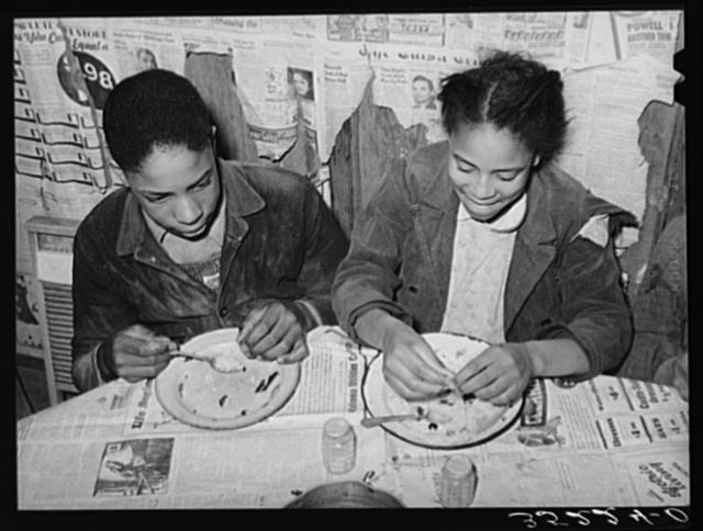 Children of Pomp Hall, Negro tenant farmer, pleased with their supper of corn bread and gravy. Creek County, Oklahoma. See general caption number 23