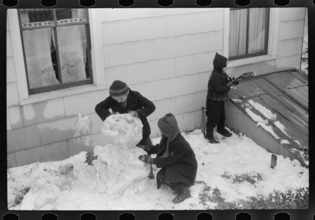 Children playing in snow in Norwich, Connecticut