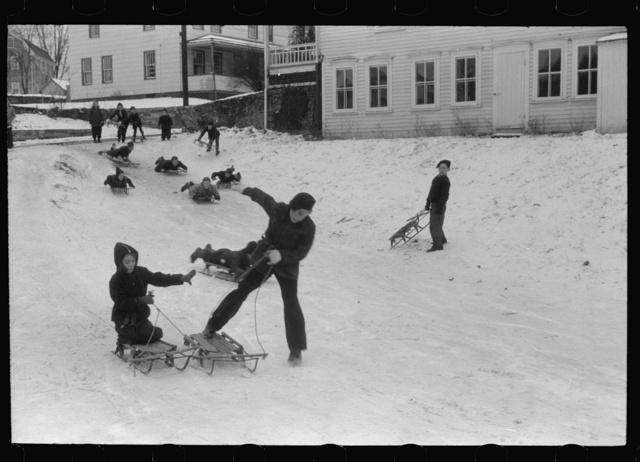 Children sledding, Jewett City, Connecticut