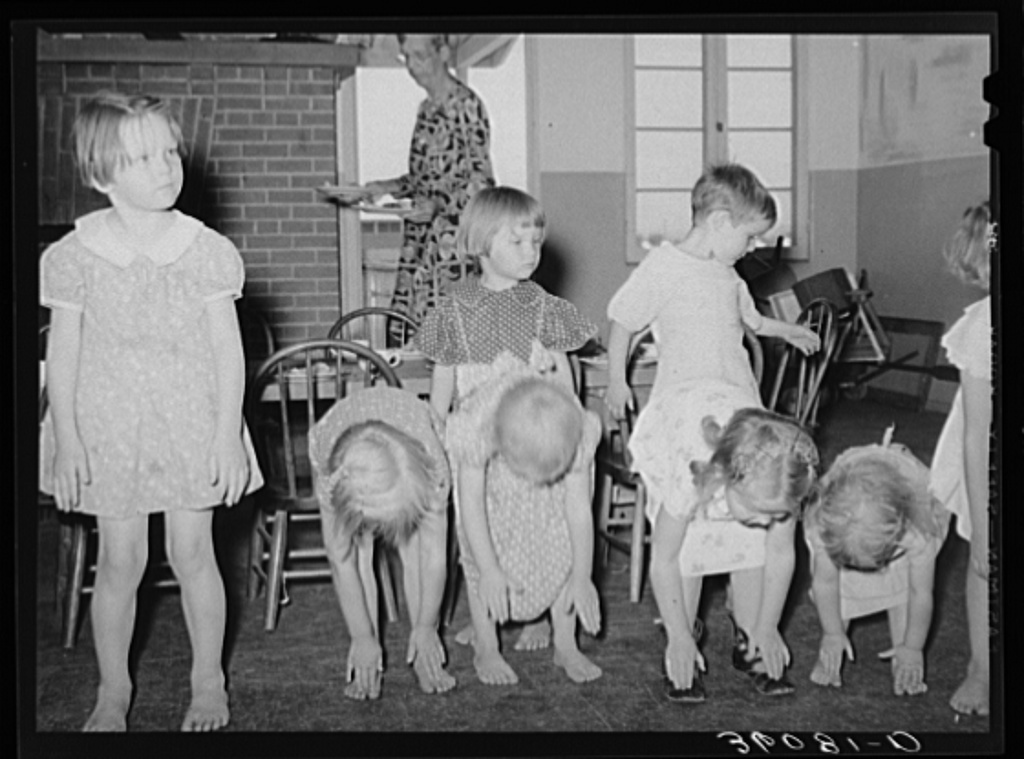 Children Taking Setting Up Exercises At The Wpa Work Projects Administration Nursery School