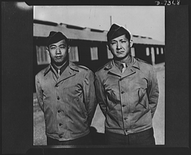 Chinese-Americans get officer rank. Camp Barkeley, Texas, The first Chinese-Americans to be commissioned second lieutenants in the Medical Administrative Corps Officer Candidate School have received their bars at this Army center. The men are Calvin S. Chin, 28, of New York City, and Anthony Loo Wung Wong, 25 of Honolulu, Hawaii. Lieutenants Chin and Wong are now members of the Medical Department Officer's Replacement Pool at Camp Barkeley. Lieutenant Chin, native New Yorker, is the son of Me On Chin 35 Pell Street. He graduated from Stuyvesant High School in New York and was in the restaurant business before entering the Army. Serving first as an enlisted man, Chin next became Staff Sergeant assigned to a Medical Battalion at Camp Youn, California. Lieutenant Wong came from Hawaii to the United States for part of his education, and graduated from St. Louis College, Missouri, in 1934. Returning to Honolulu, he graduated from the Cannon School of Business and went to work for the Hawaiian Electric Company. Before entering the Officer Candidate School, Wong served in the Hawaiian National Guard