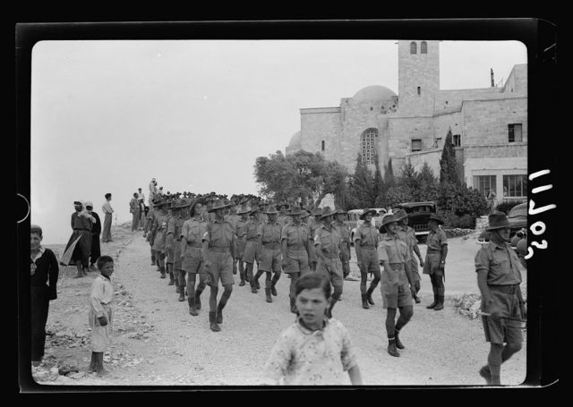 Church parade at St. Andrew's Church on Aug. 11, 1940. Troops leaving the church after service