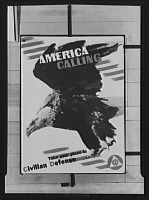 "Civilian defense poster. ""Jerry"", the American eagle, which posed for this striking poster, is a resident of the National Zoological Park, Washington, D.C. The poster, in four colors, was issued today to illustrate Civilian Defense Week, observance of which begins Armistice Day, November 11, by proclamation of President Roosevelt. Specific days have been set aside throughout the week to mark special aspects of the Office of Civilian Defense, Office of Emergency Management (OEM). From an actual photograph. It is being distributed by state and local defense throughout the nation. Poster designed by Herbert Matter, distributed by the Office of Civilian Defense. It is printed in four colors. Copies may be obtained from state and local councils"