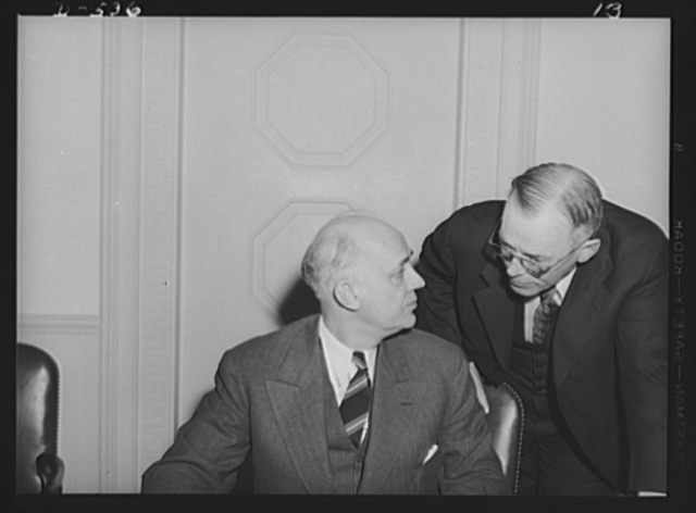 Clarence A. Dykstra, Chairman (left), and Walter C. Teagle former President Standard Oil Company of New Jersey