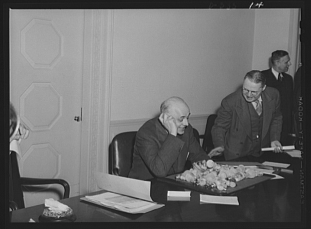 Clarence A. Dykstra, Chairman of new Mediation Board (left); Ernest P. Marsh, Executive Secretary of Mediation Board (center), Commissioner in U.S. Conciliation Services; John R. Steelman, Director of Conciliation, U.S. Conciliation Service