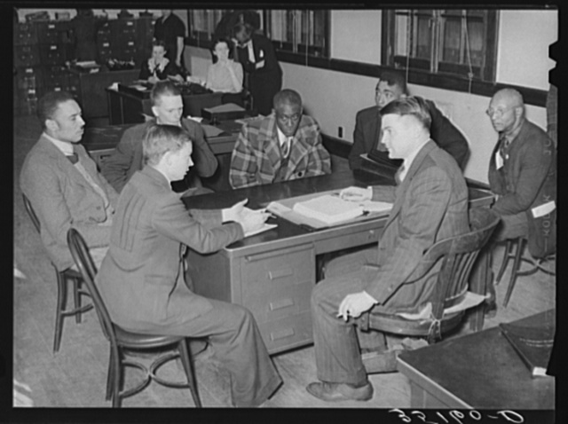 Committee from local chapter of UCAPAWA (United Cannery, Agricultural, Packing, and Allied Workers of America) meeting with FSA (Farm Security Administration) supervisor to request work grants, food or loans for sharecroppers and tenant farmers in the county. Sapulpa, Oklahoma