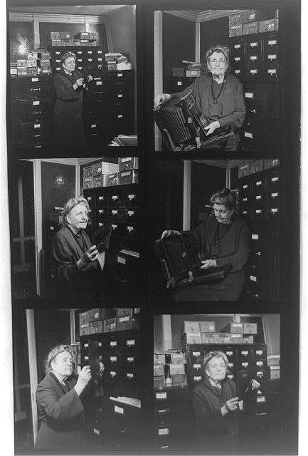 [Composite of 6 contact photoprints of Frances Benjamin Johnston in her office - 4 of her holding glass negative and 2 of her holding her camera]