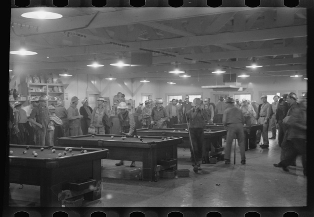 Construction workers playing pool in commissary, Shasta Dam, Shasta County, California