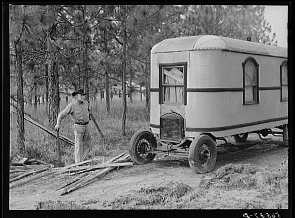 Construction worker's trailer (home-made house car). He has a job at Camp Livingston. Alexandria, Louisiana