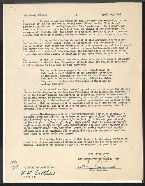 Contract between RCA Manufacturing Company and Woody Guthrie, April 24, 1940