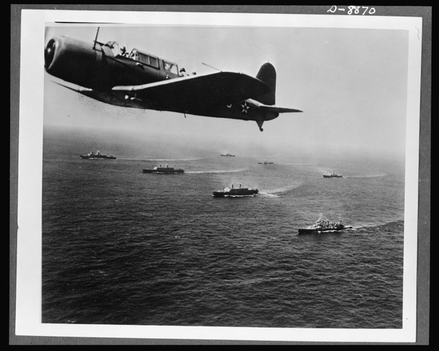 Convoy. A scout plane from the aircraft carrier USS Ranger returns from a patrol flight of the area of the sea through which a convoy is passing. The efficient work of planes like this accounts in large measure for the relatively few ships that are successfully attacked by submarine wolf packs