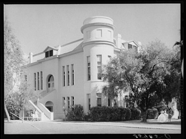 Corner of one of the main buildings of the Phoenix Union High School. Phoenix, Arizona