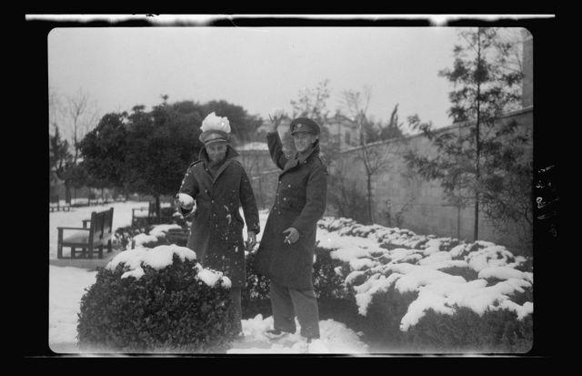 Cpl. C.D.R. Swanson & friend (S. African soldiers) in snow in public garden