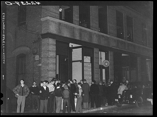 "Crowds gathered around the ""Norwich Express"" newspaper office listening to the election returns. Norwich Connecticut"