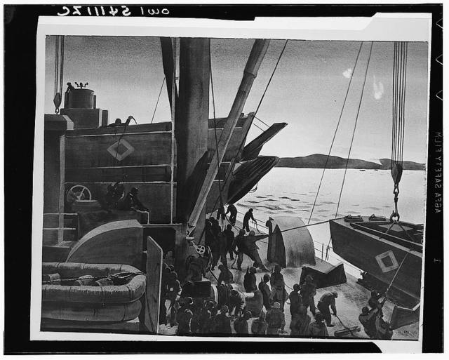 "Debarkation station aboard a transport bound for Salerno. ""H"" hour approaches, this time at Salerno. Assault craft are swung to deck level for loading and lowering into the sea. As flares are dropped from enemy planes and Allied naval and air bombardment shatters the coast, troops take their assigned debarkation stations"
