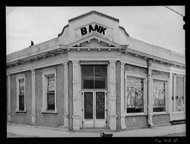 Deserted bank in Tombstone. Bisbee, Arizona, is the trading and banking center for this section