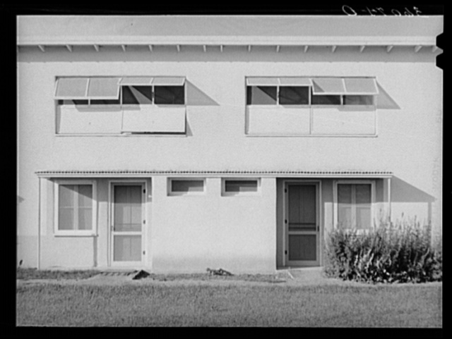 Detail of apartment building at the Arizona part-time farms. Maricopa County, Arizona. Chandler Unit
