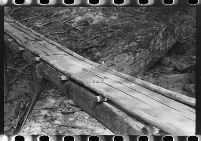 Detail of bridge over creek made by mountaineer near Jackson, Kentucky