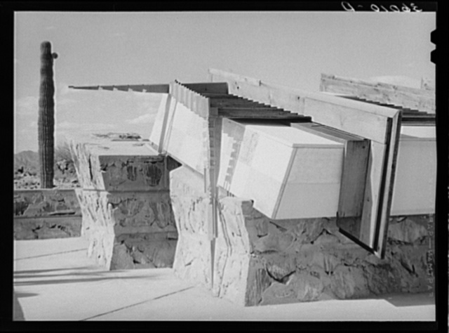 Detail of construction of corner drafting room of Frank Lloyd Wright's winter quarters at foot of McDowell Mountain. Maricopa County, Arizona