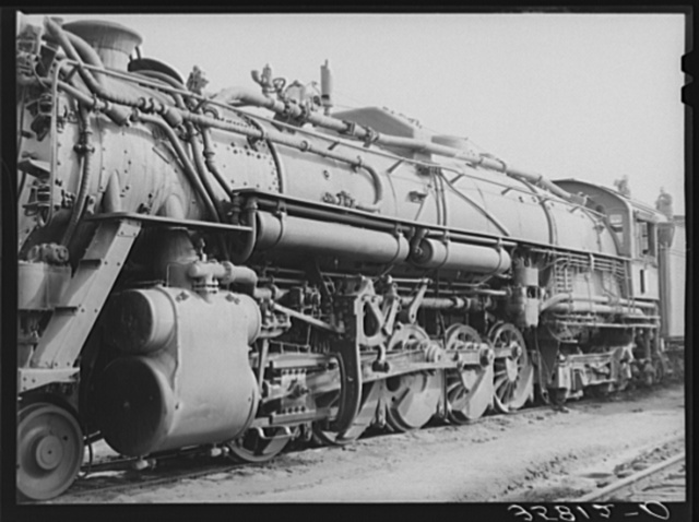 Detail of passenger locomotive while in the yard at Big Spring, Texas