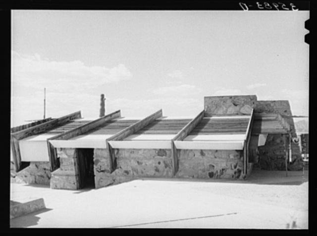 Detail of roof of drafting room of Frank Lloyd Wrights winter quarters at foot of McDowell Mountain. Maricopa County, Arizona. This roof is of heavy canvas and produces a favorable and even light for drafting work