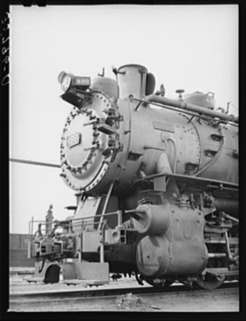 Detail of switching engine in yards at Big Spring, Texas