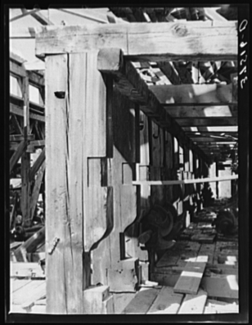 Detail of timbering and mill work of old mill at Telluride, Colorado