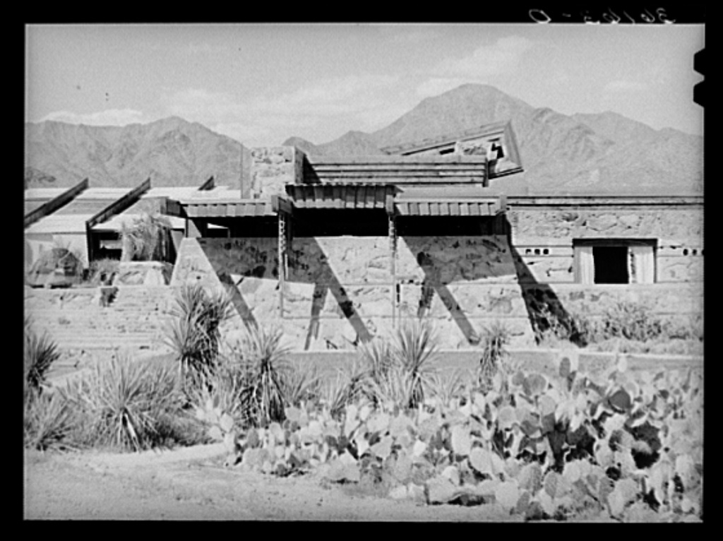 Detail of winter quarters of Frank Lloyd Wright's architectual group showing use of hanging ornament of Chinese influence to help tie building to ground. Foot of McDowell Mountain, Maricopa County, Arizona
