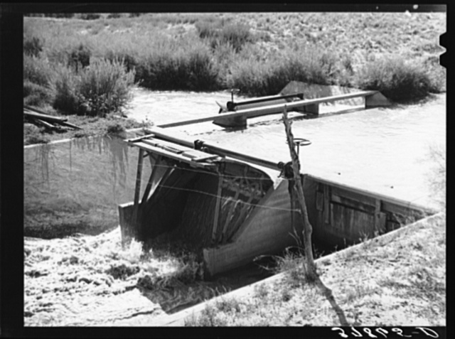 Diversion of water from main irrigation canal. Bernadillo County, New Mexico