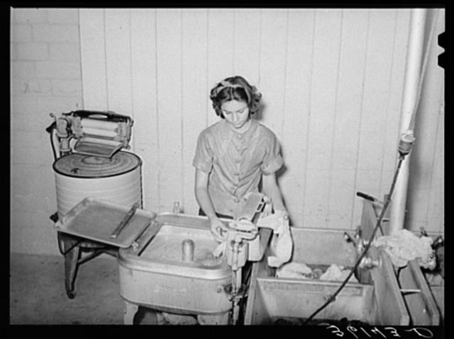 Doing the laundry at the Agua Fria migratory labor camp. Arizona