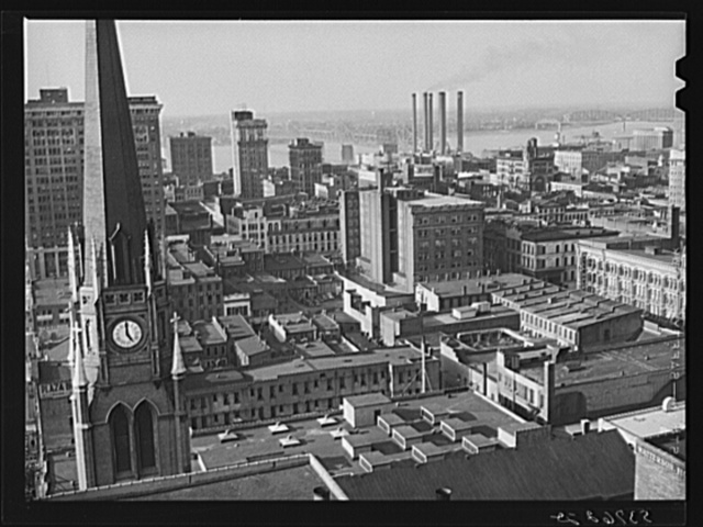 Downtown Louisville, Kentucky, with Ohio River in background