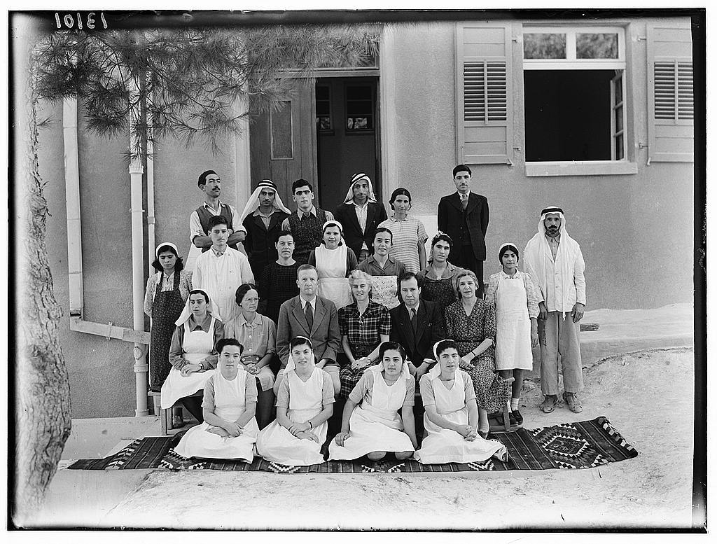 Dr. C. MacLean, Ajlun. Gilead Mission Hospital. Group. Staff in front of entrance to women's ward