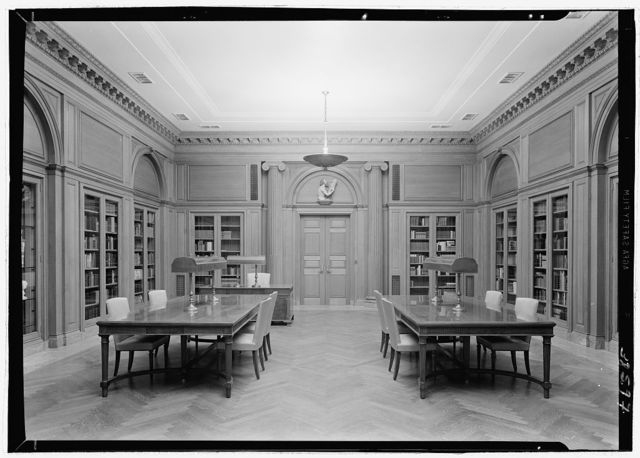 Dr. Henry W. Berg Room, at Public Library, 5th Ave. and 42nd St., New York Wide axis view to entrance