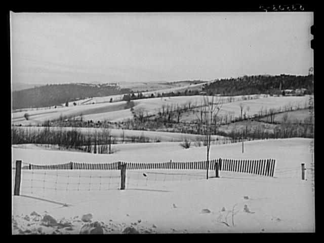 Drift fence and farm lands from Sugar Hill, near Franconia, New Hampshire