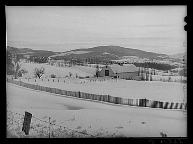 Drift fence and farm lands from Sugar Hill, near Franconia Notch, New Hampshire
