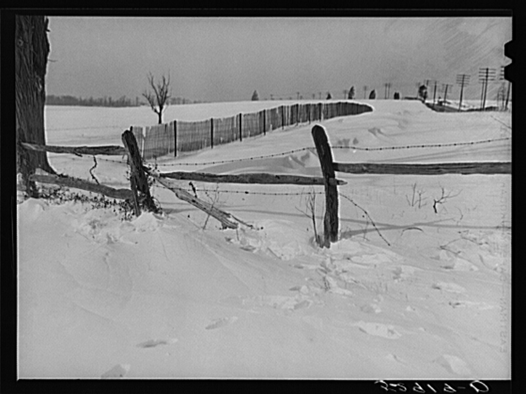 Drift fence in winter near Rockville on Route No. 240.  Montgomery County, Maryland