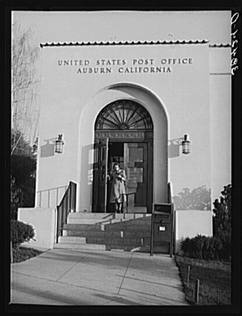 Entrance to post office. Auburn, California, county seat of Placer County
