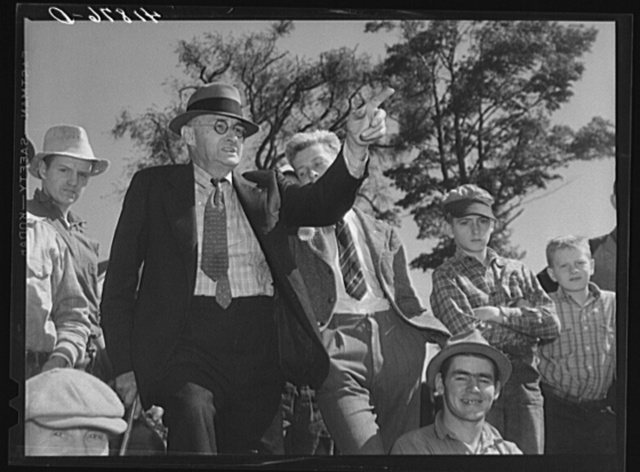 E.S. Beardsley, auctioneer, at the auction of Anthony Yaceks farm in Derby, Conecticut