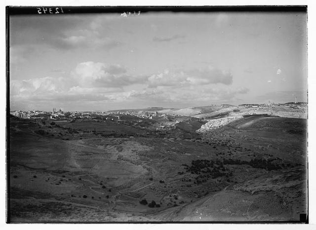 Excellent Eve view of Jer. [i.e., Jerusalem] from south (resident hills). H.E. [i.e., His Excellency]'s place