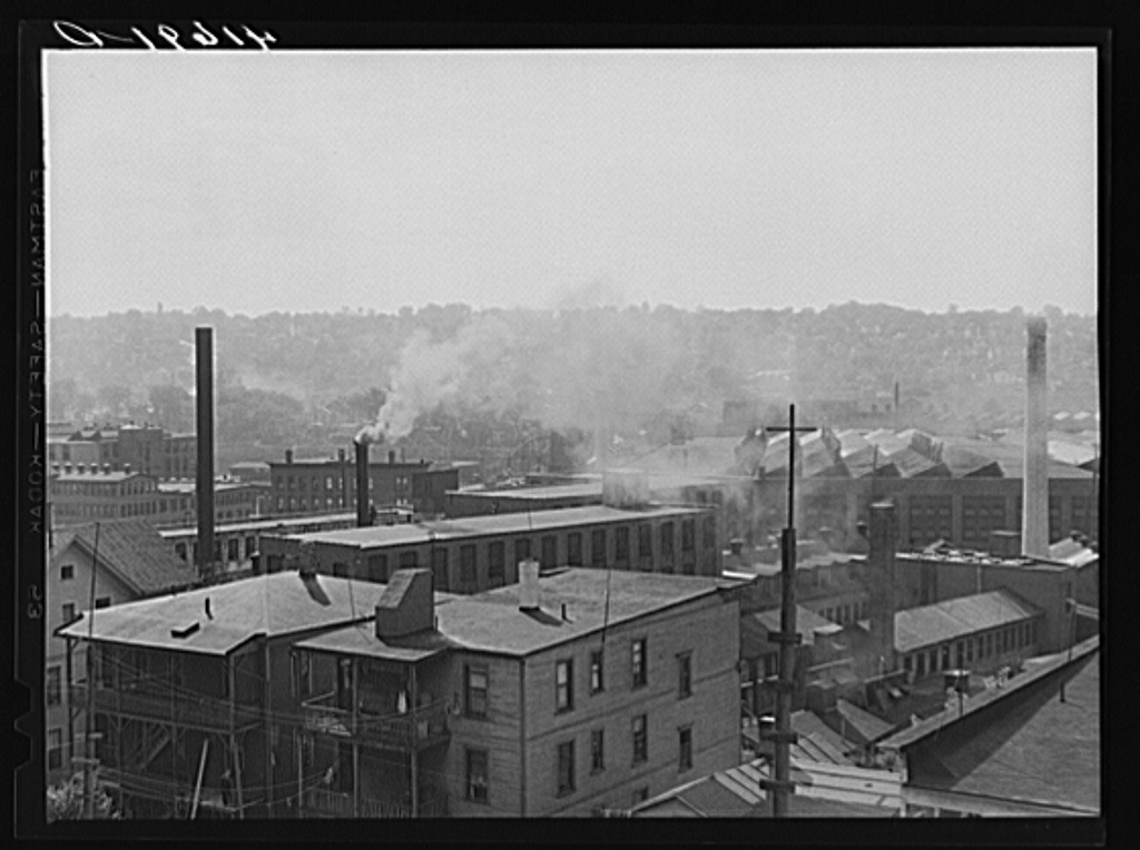 Factories and mills in the industrial city of Waterbury, Connecticut