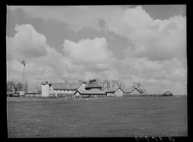 Farm buildings. Grundy County, Iowa. The field in the foreground was the scene of the national cornhusking contest in 1932