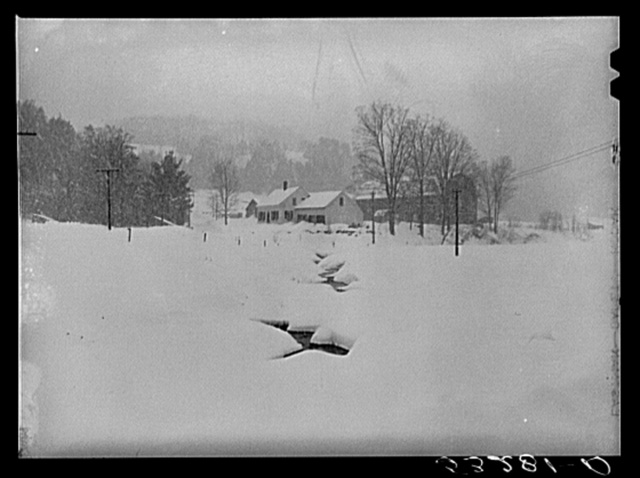 Farm during snowstorm near Barnard, Windsor County, Vermont