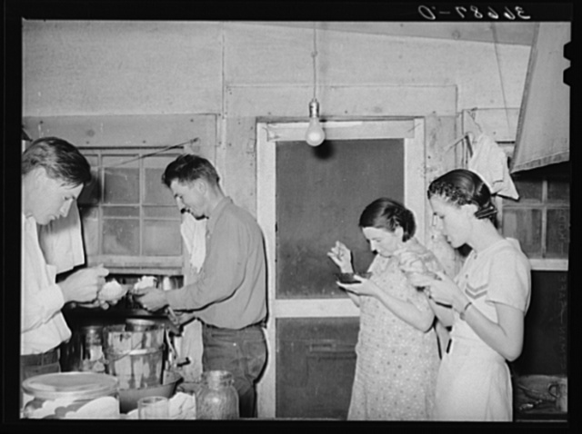 Farmers and their wives eating ice cream. Pie Town, New Mexico